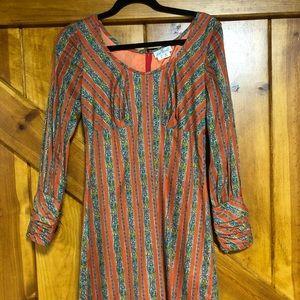 Vintage, long-sleeved, floral printed dress